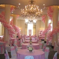 Are those BALLOONS around those pillars or WHAT??! Thts cool but i wouldnt do pink n white for my color theme