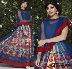 Shilpa Blue and Red Floral Double Layered Cape Anarkali