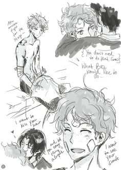 SnowBaz Sketches - Simon after a fight he didn't want to fight and some stuff Baz would've liked to do but didn't dare to do… At least not when he was younger…like kissing Simon's hair and telling him that everything is going to be okay. And that his...