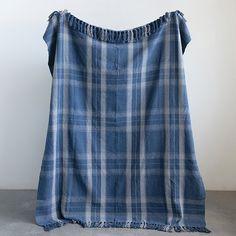 Plaid Fringed Throw Blanket Shabby Chic Sofa, Antique Farmhouse, Farmhouse Decor, Cotton Throws, Plaid Pattern, Blue Plaid, Warm And Cozy, Tie Dye Skirt, Women