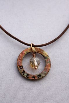 Dream Hand Stamped Copper Washer Pendant