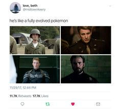Related image I don't Age I level up Pokémon evolution Steve Rogers Chris Evans Pokémon evolution