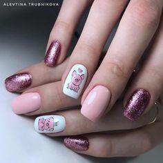 Ideas Fails Design Gel Spring Cherry Blossoms For 2019 Pig Nail Art, Pig Nails, Cute Nail Art, Cute Nails, Pretty Nails, Animal Nail Designs, Girls Nail Designs, Farm Animal Nails, Anime Nails