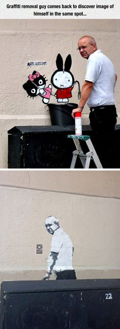 This Is The Ultimate Street Art Troll - u can see the disgust on his face, priceless! XD