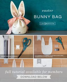DIY photo tutorial for felt Easter bunny treat bag by Lia Griffith Sock Bunny, Felt Bunny, Easter Bunny, Craft Stick Crafts, Diy Crafts, Craft Party, Party Party, Design Crafts, Bunny Bags