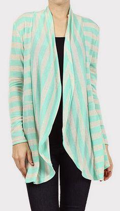 Aqua & Oat Stripe Open Cardigan
