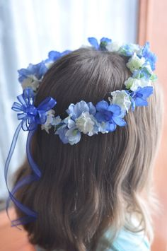 Wedding Flowers, Flower Girl Halo, Flower Girl Wreath, Royal Blue, Cobalt Blue Flower Girl hair wreath accessory.