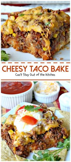 Cheesy Taco Bake Okay, I have a super delish recipe for you today. Cheesy Taco Bake combines the best of tacos with something like a Tamale Pie, except the crust is on the bottom instead of on the top. Mexican Dishes, Mexican Food Recipes, Dinner Recipes, Fish Recipes, Drink Recipes, Mexican Desserts, Dinner Entrees, Cilantro Recipes, Kabob Recipes