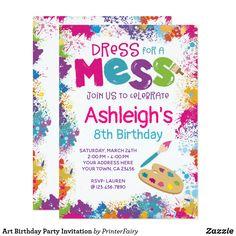 Shop Art Birthday Party Invitation created by PrinterFairy. Crayon Birthday Parties, Artist Birthday Party, Birthday Party Themes, Birthday Ideas, Art Themed Party, Barbie Birthday, Fourth Birthday, Rainbow Birthday, Themed Parties