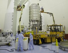 Orbital ATK Cygnus in the Payload Hazardous Servicing Facility at NASA's Kennedy Space Center in Florida
