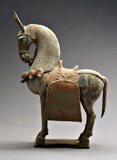 Terracotta horse statue, done in the Bei Wei style. Wei dynasty (386—534), the longest lived and most powerful of the northern Chinese dynasties before the reunification of China under the Sui and Tang dynasties, founded by Tabgatch tribesmen who, like many of the nomads inhabiting the frontiers of northern China, were of uncertain origin.