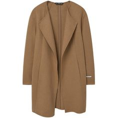 Handmade Coat (235 GTQ) ❤ liked on Polyvore featuring outerwear, coats, jackets, brown coat, mango coats, long sleeve coat and lapel coat