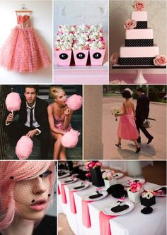 Fun wedding inspiration board featuring classic black, candy pink and polka dots! Would you wear a pink wedding dress? How about hire a pink cadillac? Wedding Candy, Wedding Themes, Wedding Events, Our Wedding, Dream Wedding, Wedding Blog, Wedding Photos, Wedding Color Schemes, Wedding Colors