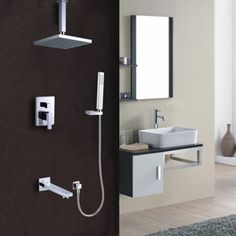 this shower set brings a clean minimalist aesthetic to the home rain shower