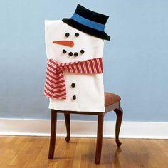 How to make Snowman Chair Covers. So many Cute chair covers! Christmas Snowman, Winter Christmas, All Things Christmas, Christmas Holidays, Snowman Party, Snowman Crafts, Felt Snowman, Snowman Tree, Reindeer