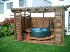 hot tub gazebo 11 garden hot tubs Most Clever DIY Hot Tub Gazebo Ideas For a Joyful Winter Hot Tub Pergola, Hot Tub Backyard, Hot Tub Garden, Jacuzzi Outdoor, Backyard Pergola, Diy Hottub, Deck Gazebo, Pergola Kits, Hot Tub Privacy