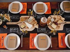Set up bright and fun place settings with a chalkboard (aka black contact paper) runner.