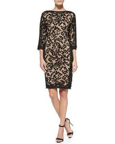 3/4-Sleeve Lace-Overlay Cocktail Dress by Tadashi Shoji at Neiman Marcus.