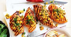 For a quick 30 minute meal try this delicious char-grilled chicken drizzled with a fresh apricot and pistachio salsa.