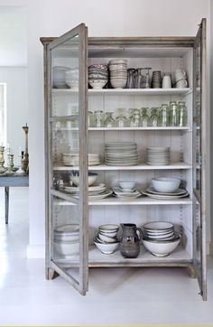 freestanding kitchen cabinets, kitchen storage ideas, furniture in the kitchen, … - Furniture Ideas Free Standing Kitchen Cabinets, Kitchen Pantry Cabinets, Glass Cabinets, Display Cabinets, Vintage Kitchen Cabinets, Armoire In Kitchen, Kitchen Display Cabinet, Kitchen Shelves, Glass Shelves