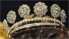 """The Swedish """"Six Button Tiaras"""" ~ These six buttons are not identical - the center four match, and the two at each end are of a second design. Both designs are different from those used in the Four Button Tiara. The base includes two rows of diamonds, the top row being longer than the bottom row."""