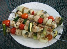 Barbecued Herb-Mustard Chicken...our family's all-time favorite chicken recipe. Can be made as shish kebabs or with breast filets...Dayna