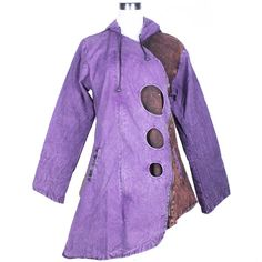 The jacket looks stylish because of diagonal hem. It has a hood to cover the head. On the front of the jacket, are circles, a zipper, drawstrings and side pockets. This jacket made in Nepal is a patchwork of colors.