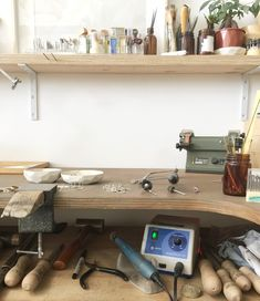 Hand-formed jewellery and home wares by Australian artist and designer Abby Seymour Workshop Studio, Home Workshop, Bedroom Decor For Small Rooms, Diy Bedroom Decor, Home Decor, Jewelry Studio Space, Jewellery Workshop, Vintage Industrial Lighting, Jewellers Bench