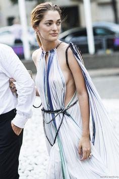 Fabulous dress. #SofiaSanchez in Paris. | @andwhatelse