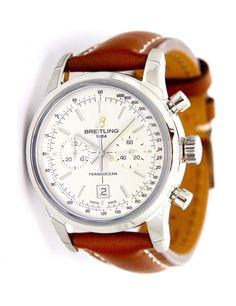 NEW Breitling Transocean Chronograph 38 Silver Dial Strap Watch A4131012/G757 #Breitling #LuxurySportStyles