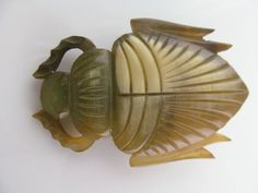 Victorian Carved Horn Brooch (Subject Beetle) from judisantiquejewelry on Ruby Lane