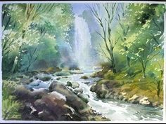 Watercolor landscape painting : The Water Stream Watercolor Scenery, Watercolor Paintings For Beginners, Watercolor Video, Watercolor Landscape Paintings, Watercolor Projects, Watercolor Techniques, Watercolor Art, Waterfall Scenery, Forest Waterfall