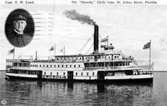 In 1963, inspectors stumbled upon a steamship hull buried on the north bank of the St. Johns River at Jacksonville.  It belonged to the Clyde Line's steamer Osceola.  The 272 foot steel vessel operated until 1928, when she was tied up and left to rot.  The ship flooded and settled into mud at the river's bottom.  Workman dismantled what remained of the topsides in 1937.  One of the final reminders of the steamboat era.