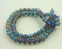 Mystic blue quartz round beads 6mm