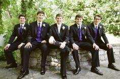 Nashville Garden Wedding Venue Black Suits with Purple Vest and Tie