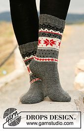 Ravelry: 131-42 Fjord Rose Socks pattern by DROPS design