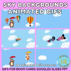 Collection of 18 Sky animated GIFS.Ready made space themed templates which include Air balloons, Aeroplanes, Superheros, animals and lightening, editable backgrounds, so you can customise your own scenes.Simply add these animated gif backgrounds into Boom cards, seesaw, google slides and powerpoint.
