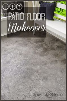 DIY Patio Floor Makeover! Super Cheap, and EASY! www.Sawdust2stitches.com