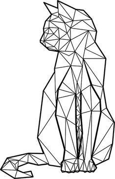 Geometric Drawing, Geometric Cat Tattoo, Geometric Animal, Geometry Tattoo, Geometric Origami, Diy Origami, Fractal Geometry, Origami Ideas, Geometric Mandala