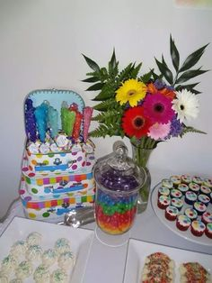 Rainbow Birthday Party candy!  See more party ideas at CatchMyParty.com!