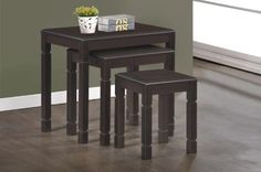 Expresso Solid Wood 3Pcs Nesting Table Set
