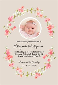 Vintage victorian pink peach baptism invitations di 824 custom floral baby printable invitation template customize add text and photos print stopboris Image collections