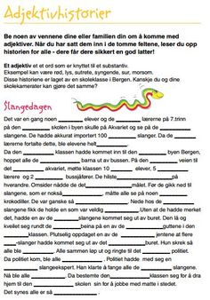 Less Commonly Taught: Adjektivfortellinger (Mad Libs) First Day Of School, Back To School, Danish Language, Mad Libs, School Subjects, Too Cool For School, Teaching English, Kids And Parenting, Kids Learning