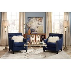 Blue accent chairs - Flynn Navy Blue Upholstered Armchair Lamps Plus Cream Living Rooms, Blue Living Room Decor, Glam Living Room, Living Room Accents, Accent Chairs For Living Room, Formal Living Rooms, Home And Living, Living Room Designs, Blue Living Room Furniture