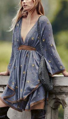 'Celestial' Embellished Mini Dress Material: Polyester, Cotton Bust: 84 cm Sleeve: 50 cm Length: 85 cm  Free PeopleDresses