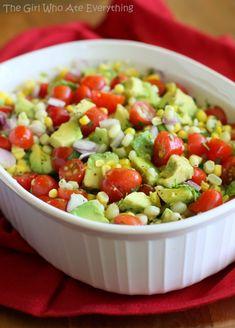 Corn, Avocado & Tomato Salad Recipe – – My Salat Good Healthy Recipes, Healthy Snacks, Vegetarian Recipes, Healthy Eating, Cooking Recipes, Cooking Tips, Salada Light, Eat Better, Better Health