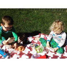 Pinic with my little dudes. Fruit salad and sandwiches #myboys #pinic #lego #sunshine