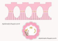 Osita Princesa con Bebé: Stand para Cupcakes para Imprimir Gratis.