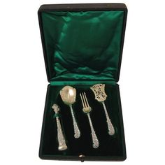 Soufflot French Sterling Silver 18-Karat Gold Dessert Hors D'oeuvre Set Box   From a unique collection of antique and modern serving pieces at https://www.1stdibs.com/furniture/dining-entertaining/serving-pieces/ #SterlingSilverServingPieces