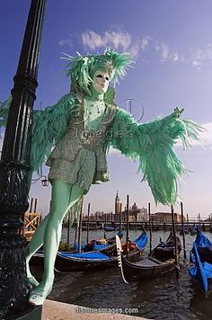 venice carnival costumes | ... Venice Venice Carnival People in Costumes and Masks on Canal with
